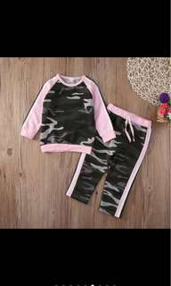 Kid sports baby girl toddler camouflage long sleeved top pants set