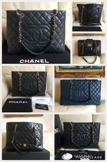 Chanel shopping tote bag caviar leather silver gold Gst