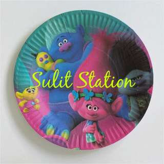 10pcs TROLLS BIRTHDAY PARTY PAPER PLATE ITEMS