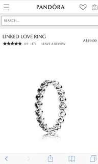 Pandora Linked Heart Ring