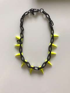 Joomi Lim Neon Yellow Spiked Necklace