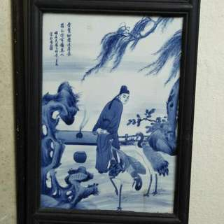 王步青花瓷板86218574