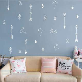 Nordic ins Creative home decoration ethnic style Simple geometric lines abstract bedroom study Nordic PVC wall sticker Home decor ( $30= 2 set pic 3 )
