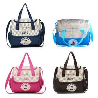 FREE POS Ready Stock Large 2 In 1 Mummy Shoulder Bag Diaper Bag With Waterproof Baby Nappy Mat