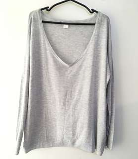Charity Sale! Free Shipping Authentic H&M Basics Grey Long Sleeve Shirt Size Medium Women Cotton Comfortable