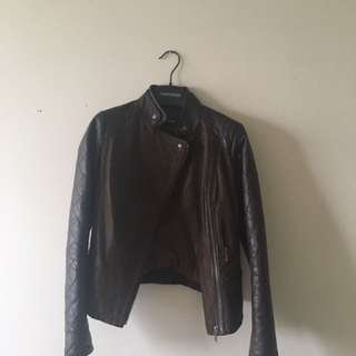 Danier Brown Bomber Leather Jacket
