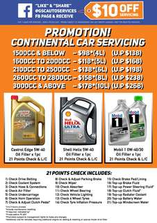 Continential Castrol / Shell / Mobil 1 Car Servicing Promotion