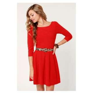 Darling Deneuve Orange Red Dress Leopard Belt Ark & Co Mod Retro Pinup Size L
