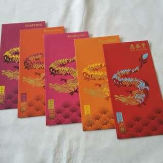 5 pcs *Breadtalk Group* 2012 Red Packet / Ang Pow / Hong Bao / Ang Pao