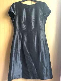 Thai silk tailor made black dress
