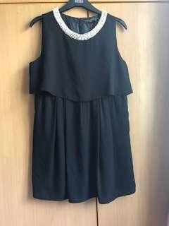 Topshop black chiffon pearl dress
