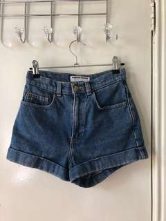 American Apparel Denim High-Waisted Shorts