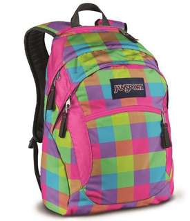 Jansport Wasabi Backpack - Florescent Block Check