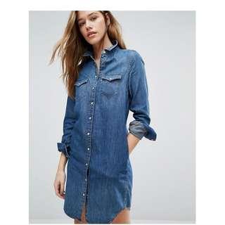 Levi's Blue Denim Iconic Western Shirt Dress Long Sleeve Snap Up Size L