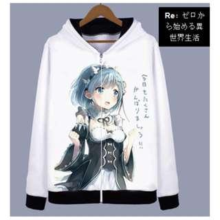 Re:Zero Rem Ram Anime Graphic Hoodie Jacket Sweater