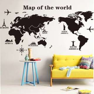 Room Decoration Bedroom Dormitory Creative Living Room Office Wall Sticker Wallpaper World Map Stickers Can be Removed Home decor ( Raw sticker 90x60cm )
