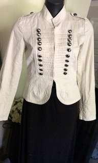 Dotti Ladies Jacket Size 10 Cream Long Sleeve Button Feature Peplum Style EC