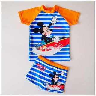 New Disney Mickey Mouse Boys/Kids Two Piece Uv Sun Protect Swimsuits 全新米奇老鼠兩件頭防曬泳衣