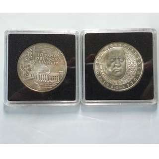 2x Commemorative 10 Deutsche Mark Silver Coins Germany 10th Anniversary Reunification and Johann Sebastian Bach