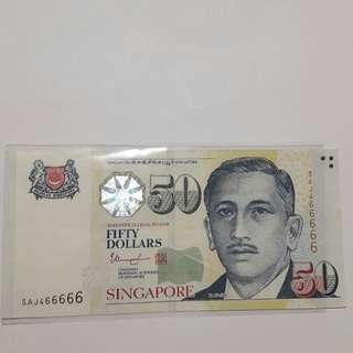 Singapore note no. 5AJ466666