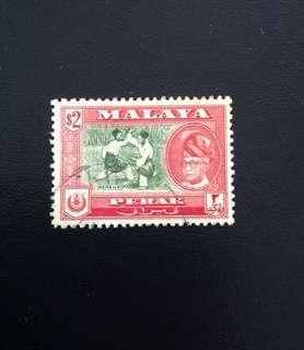 Malaya 1957 Perak Def $2 Used (0368)