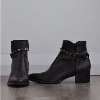 Dominique's Brown Studded Ankle Boots
