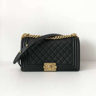 Authentic Chanel Boy Medium Caviar