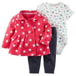 *18M Brand New Instock Carter's 3 Pc Little Jacket Set Girl Bodysuit Onesie Romper Pants