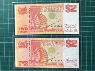 $2 ship series-1st prefix AA and replacement prefix ZZ banknotes