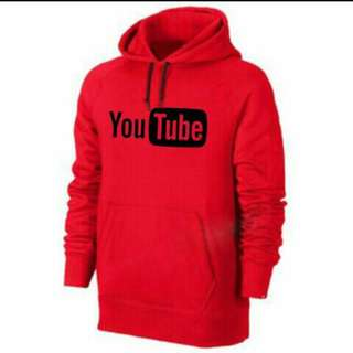 Jaket Sweater Zipper Youtube Merah Hoodie