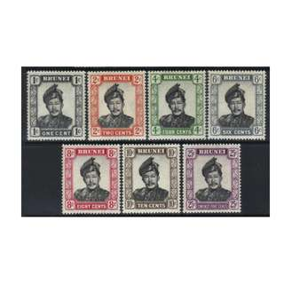 BRUNEI 1952-1958 DEFINS 7 MH VALUES BL570