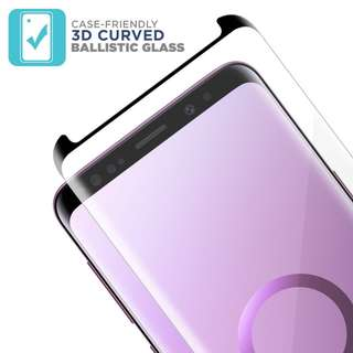 Galaxy S9 S9+ Plus 3D Case Friendly Tempered Glass Screen Protector for Samsung 玻璃貼 保護貼 電話套 專用 ( Black Color 黑色 )