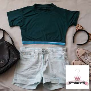 Crop Top with garter in Army Green