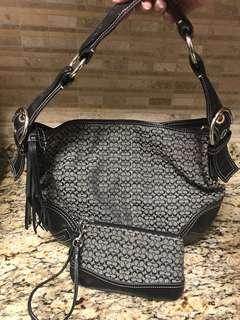Authentic Coach Signature Large Hobo Handbag Purse w/ Wristlet