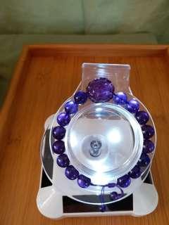烏拉圭天然紫水晶手串 9.5 mm 配純手藝牡丹雕花