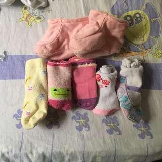 6 sets of baby girl socks