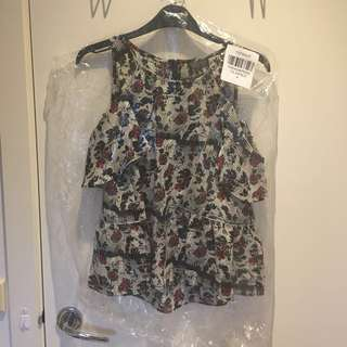 Topshop floral ruffle cold shoulder Top brand new