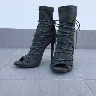 Suede Lace-Up Peep Toe Heels