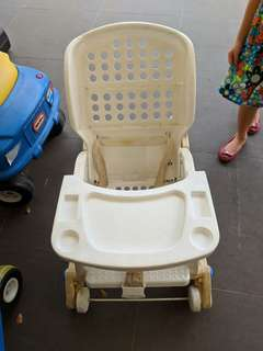 Baby rocker chair with washable cushion.