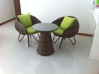 Rattan Outdoor Chair & Table Set