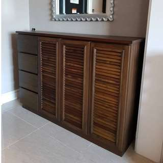 Handmade solid wood shoe cabinet for sale.