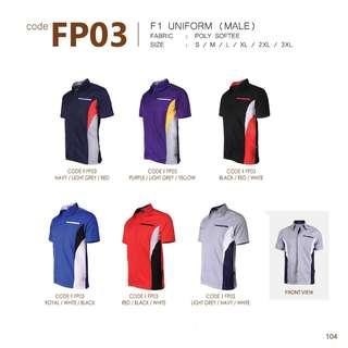 2pcs Male F1 Uniform, Corporate Shirt, Business Shirt