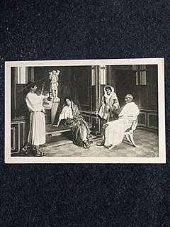 Vintage Postcard Christian Family During Persecution Unused