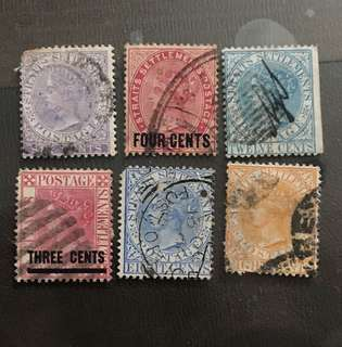Malaya stamps straits Queen Victoria 6v Used (some faults)