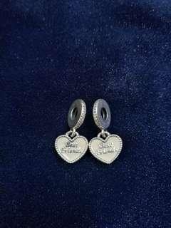 ORIGINAL Pandora Bestfriends Heart Pair Charm
