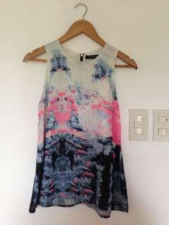 Watercolor Print Sleeveless Top
