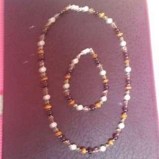 Semi Precious Stone Choker and bracelet