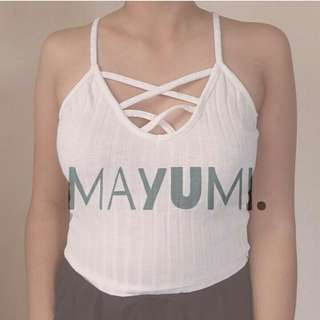 White Criss-Cross Front Cropped Top