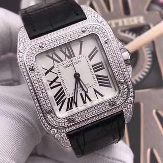 Cartier Santos 100 Man-made Diamond Swiss Engine 2824 (V6)