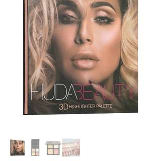 BNIB Huda Beauty 3D HIGHLIGHTER PALETTE – PINK SANDS 100% authentic with Free foundation